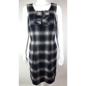 ANN TAYOR LOFT Gray Plaid Dress - Size 10